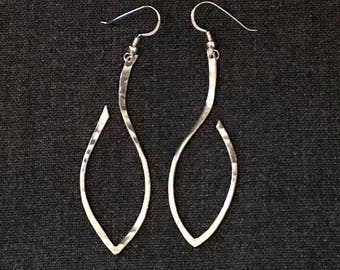 Hammered Leaf Sterling Silver Earrings