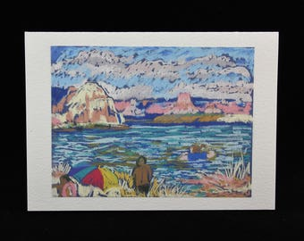 Swimming at Lake Powell, Arizona, Art Note Card from Pastel Painting by Karlene Voepel