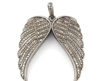 50% off 1 Pc Pave Diamond Wings Feather Pendant - 925 Sterling Silver - Diamond Antique Finish Pendant - Wings Feather Pendant 40mmx35mm PDJ