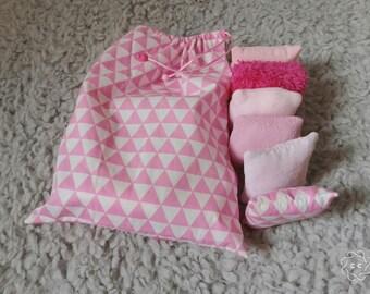Set of 12 pillows sensory and tactile inspiration montessori and waldorf - pink - storage bag