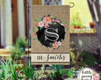 Personalized Garden Flag - Chalkboard Frame & Flowers