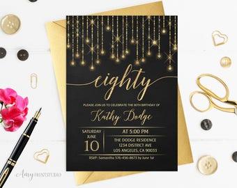 80th Birthday Invitation, Gold Birthday Invitation, Chalkboard Birthday Invite, PERSONALIZED, Digital file, #W72