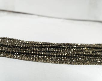 AAA micro golden Pyrite Faceted Rondelle Beads 2-2.5mm, Golden Pyrite, tiny Bead, Pyrite Bead, golden bead, black pyrite, Wholesale Gemstone