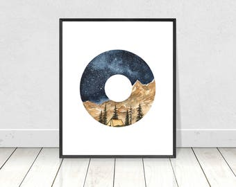 Printable Letter O Alphabet Watercolor Art Print- Wilderness Woodland Nursery Room Decor- ABC Alphabet Camping Art For Nursery Room