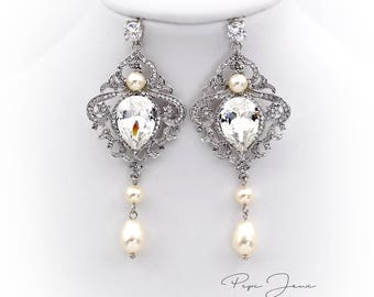 Wedding Earrings Swarovski Pearl Earrings Swarovski Crystal earrings Bridal Earrings Wedding Jewelry Bridal Jewelry Bride Earrings Accessory