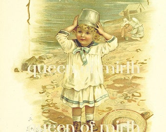 QUEEN OF MIRTH Vintage instant downloadable art digital card art Victorian child seashore beach  poster cardmaking decoupage