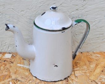 Vintage Enamelware Green Rimmed Tea Pot, Planter, Vintage Kitchenware, Kitchenalia