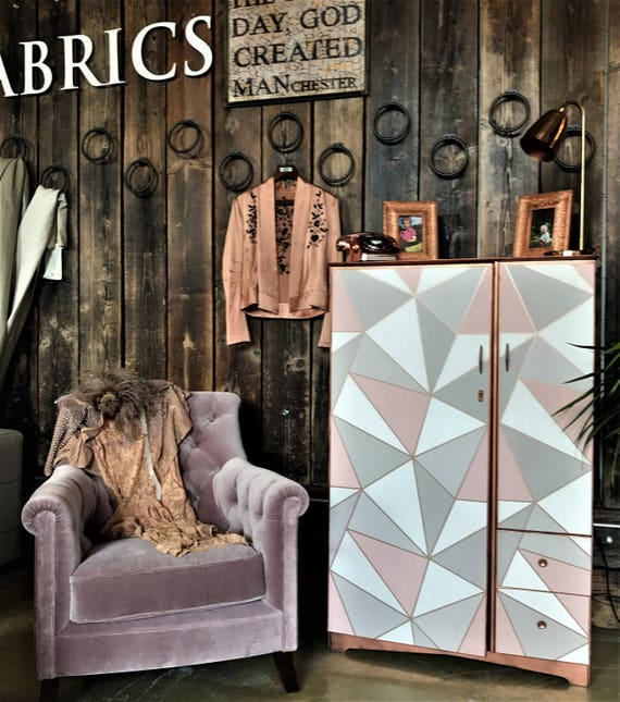 SOLD! fab blush pink and rose gold vintage cabinet tallboy up-cycled