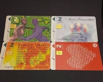 Vintage Phone Cards Latvia 4 Pcs Lattelekom Telekarte 1998 1999 2002 2 Ls C115