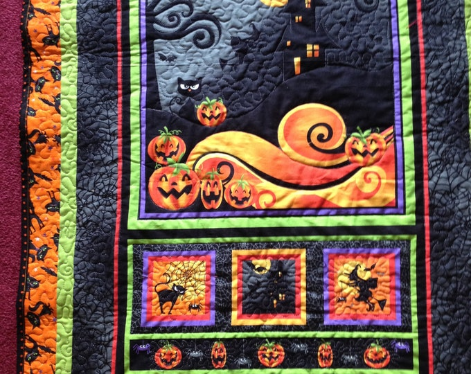 Handmade Reversible Halloween, Thanksgiving and Fall Quilted Table Runner - Wall Hanging - Door Hanging Decor - Housewarming Holiday Decor