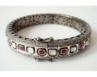 Victorian Style Antique finish 4.10cts Rose Cut & Uncut Polki Diamond Ruby Oxidized Sterling Silver Hinged Bracelet Bangle w/ Filigree Work