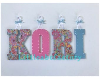 Paisley Letters, Baby shower gift, girl nursery, wooden letters, paisley print, nursery decor