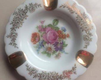 Limoges porcelain - french ashtray - ashtray flowers ashtray-