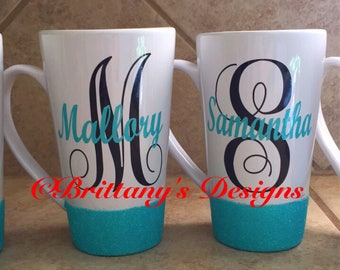 Personalized glitter coffee mug - Glitter coffee cup - Christmas gifts - monogrammed cup - Name Initial Glitter Coffee Cup - Gift for her