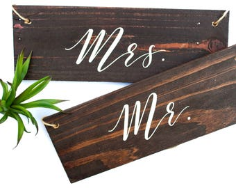 Mr. and Mrs. Chair Signs, Mr. and Mrs. Signs, Rustic Wedding Sign, Rustic Wedding Chair Sign, Sweetheart Chair Signs, Wedding Signs, Wedding