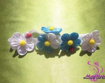 baby headband, flower baby headband, kanzashi flower