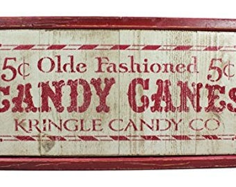 Rustic Christmas 5 Cent Olde Fashioned Candy Canes Plank Wood Sign