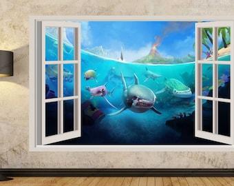 Hungry Shark Wall Stickers, Kids Wall Mural, Wall Sticker Art Decal Mural 367A