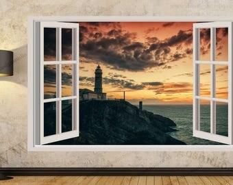 Sea Sunset Lighthouse Wall Stickers, Wall Mural, Wall Sticker Art Decal Mural 381A