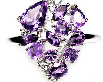 Fabulous gold plated S925 silver ring amethyst and zirconium
