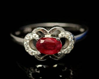 Ruby and zirconiums ring gold plated S925 silver