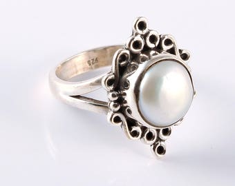 Pearl 92.5 sterling silver ring size 6 us