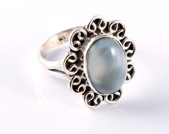 Blue opal 92.5 sterling silver ring size 6 us