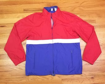 Vintage 80s Woolrich Color Block Red White Blue American Flag Windbreaker Tracksuit size M 90s