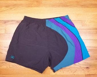 Vintage 80s 90s Swim Trunks Wavy Color Block Surf Shorts Black Purple Blue Large L