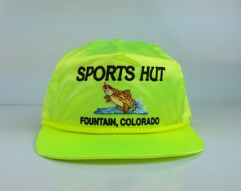 Vintage 90s Sports Hut Fishing Bass Trucker Embroidered Hats With String Neon Yellow Cap Snapbacks Fountain Colorado
