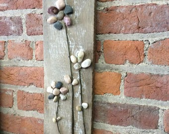 Pebble Art, Pebble flowers on a distressed repurposed rustic pallet board
