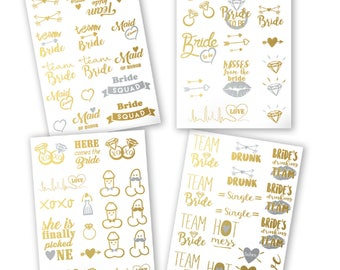 Bachelorette Party Tattoos - Gold Metallic Flash Temporary Tattoos, Set of 66. Bachelorette Party Favors