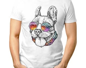 0430 Hand drawn vintage retro hipster style-sketch of funny French Bulldog Shirt T shirt Humor White T-Shirt T Tee Mens Gift
