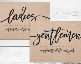 Wedding Bathroom Signs Ladies and Gentle Men restroom signs Reception bathroom signs Kraft Rustic Wedding bathroom Signs Wedding Restroom
