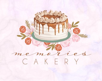 Hand-painted Watercolor Realistic Floral Luxurious dripping caramel & roses Vintage Cake Pre-made Logo Design