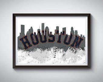 Houston Inspired Art Poster Print, Houston, Texas Skyline Poster 2
