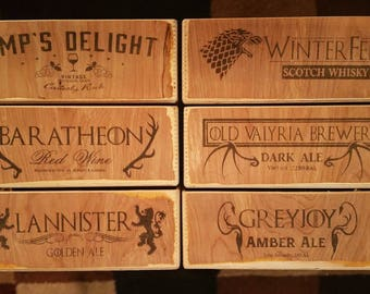 Game of Thrones inspired whisky/beer crate boxes. SET OF 6. Free Shipping