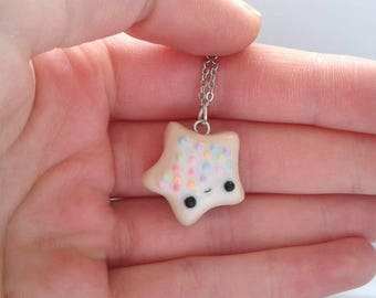 Polymer clay kawaii iced biscuit star