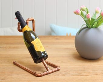 Copper Bottle Holder, Champagne, Special Occasision, Copper Pipe, Handmade Bespoke Industrial Metal Vintage Retro Upcycling