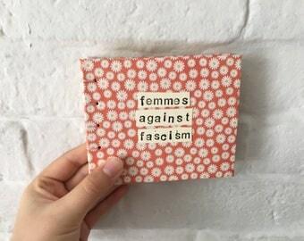 Handbound Book Femmes Against Fascism Floral Pattern