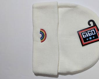 Rainbow embroidered winter hat beanie