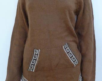 Peruvian Alpaca wool sweater hooded brown dark fawn apparel