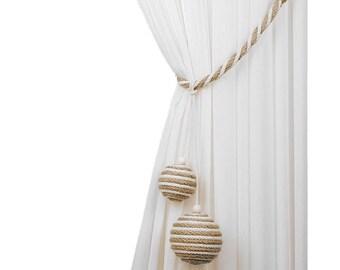 Jute balls tiebacks, Cotton rope balls, Rope curtain tieback , Beach decor, Curtain tiebacks, Beach house decor, Jute tie backs, Party decor