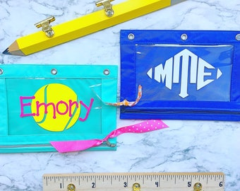 FREE SHIPPING Monogrammed pencil pouch  - personalized 3 ring binder pencil pouch - monogrammed school supplies