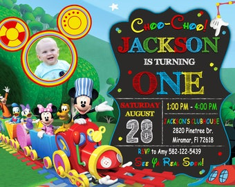 Mickey Mouse Choo Choo Express Invitation, Mickey Choo Choo Express Birthday, Mickey Mouse Clubhouse Invitation , Mickey Mouse Invitation