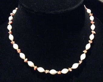 Stunning Vintage Coral/Gemstone Necklace - From Hawaiian Boutique 1970s