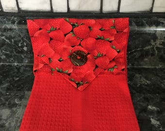 Strawberry Hanging Towel: cotton waffle weave