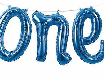 """Balloons, blue  one balloons, 1st Birthday Boys """"One"""" Balloons Banner, party, number balloon, photo props, backdrop, pink decorations,"""