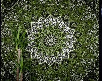 Indian Mandala Tapestry starshape black green bohemian gipsy bedcover beachthrow elephants