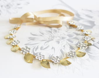 Woodland Flower Leaf headband | Free Shipping Gold Leaf headband Grecian wedding headpiece Floral headband Bridal Headpiece Wedding tie back